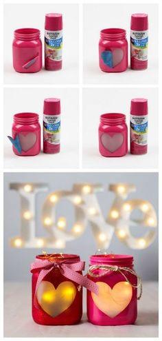 Mason Jar Room Decor Glitter Mason Jars  Valentines Day Decor  Decorated Mason Jars