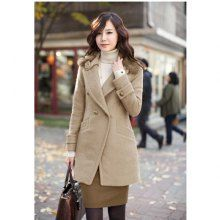 Elegant Turndown Neck Double Breasted Long Sleeve Solid Color Imitation Woolen Women's Coat