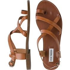 STEVE MADDEN Agathist sandal ($62) ❤ liked on Polyvore featuring shoes, sandals, flats, t-strap flats, ankle wrap flats, ankle tie sandals, steve-madden shoes and ankle strap gladiator sandals