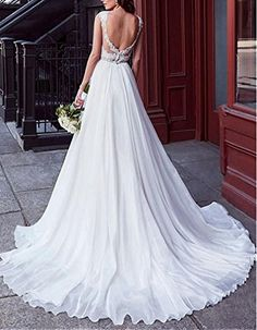 5f8075e4b874 Dressylady Women's A Line V Neck Cap Sleeve Beaded Applique Organza Wedding  Dress Backless at Amazon