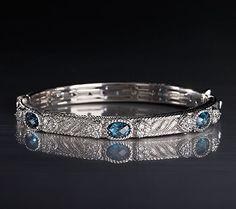 6b15c8a98 J321350 Blue Topaz Romance bangle Bangle Bracelets, Bangles, Blue Topaz,  Gemstones, Sterling