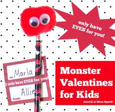 Kid Craft: Valentine Monster Pencil Toppers #crafts #diy #valentinesday