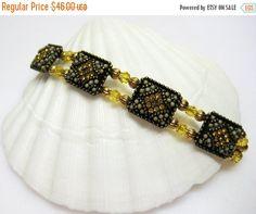 CIJ SALE Amber Crystal Bracelet  Gold by MyGemstoneDesigns on Etsy