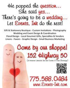 Engagement Season - February Events, Ink Ad Cynthia Ferris-Bennett 775.671.2164 or Cynthia@SierraChef.com