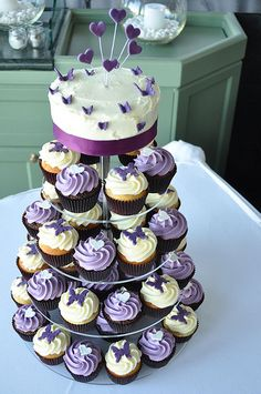 Purple Ivory Rose Wedding Cupcake Tower