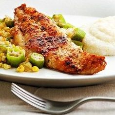 Louisiana Catfish with Okra & Corn - EatingWell.com