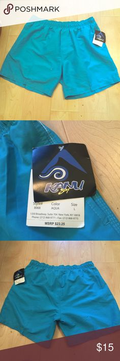 Men's Kanu surf trunks SZ L Men's brand new, teal, Kanu surf trunks. These swim shorts go to about the mid thigh. And they are an awesome real color. I bought them for my husband and he did not like the length on them. I thought they looked great. Anyways, these are from a smoke and pet free home. Tags still attached. Kanu surf  Shorts
