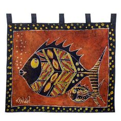 Hand Crafted Batik Wall Hanging Cotton - Nye Ke Bi | NOVICA