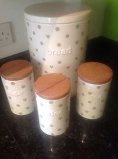 Ceramic bread bin with #matching tea, #coffee and sugar #canister,  View more on the LINK: http://www.zeppy.io/product/gb/2/222088871535/