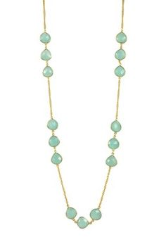 18K Gold Clad Faceted Aqua Chalcedony Station Necklace