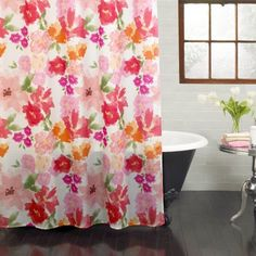 """Excell Posie 70"""" x 72"""" Fabric Shower Curtain, Floral, Bright Pink"""
