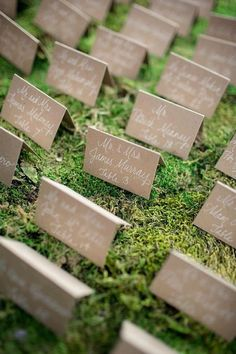 Escort cards - Long table topped with moss + lanterns