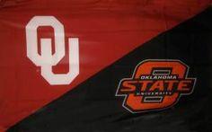 Oklahoma University and Oklahoma State University house divided silk screened flag. $24.99 with grommet finish. University Housing, Oklahoma State University, House Divided Flags, Cute Furniture, Texas Tech, School Spirit, Vinyl Projects, Graduation, Silk