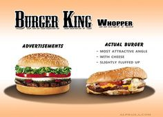 This is a series of photos comparing fast food company's advertising shots to meals actually received in real life. SURPRISE!: they look nothing alike. Of course if you actually went to Burger King expecting to get something resembling the burger in the picture you obviously have a problem being honest with yourself.