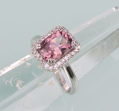 Pink Spinel in 14k White Gold Diamond Halo Engagement Ring Gemstone Jewelry. $750.00, via Etsy.