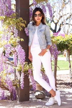 Annabelle Fleur of Viva Luxury wearing Michael Kors Irving leather sneaker, Brookton chronograph watch & Collection 59mm aviator sunglasses. March 2015