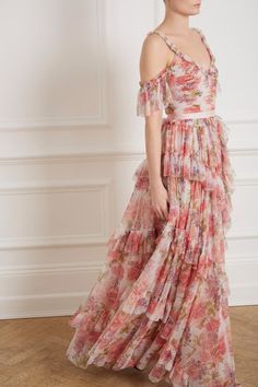Titania Rose Tulle Gown in Ivory from Needle & Thread's New Season Collection. Long Floral Maxi Dress, Floral Gown, Chiffon Dress, Embellished Gown, Sequin Gown, Tulle Gown, Needle And Thread Wedding Dresses, Rose Gown, Tiered Dress