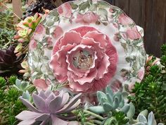 .Drought Resistant Plate Flowers. #113. Garden Yard Art glass and ceramic plate flower