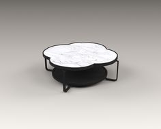 """AKAR DE NISSIM's PRUNE coffee table in solid oak with its top marble - The perfect """"East meets West"""" design showcasing a clover shaped that takes its origin from a very old pattern found in the Renaissance era, Gothic architecture and Chinese symbolism."""