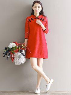 Women's Red Lace Cheongsam Qipao Dress