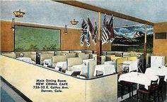 Denver Colorado CO 1950 New China Cafe Main Dining Room Antique Vintage Postcard