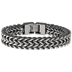 Men's Antique Finish Stainless Steel 12MM Wheat Chain Bracelet Available Exclusively at Gemologica.com