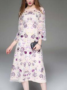 Gorgeous Floral Printed Transparent Long Sleeve Maxi Dress
