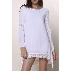 Stylish Women's Jewel Neck Long Sleeve Crochet Dress
