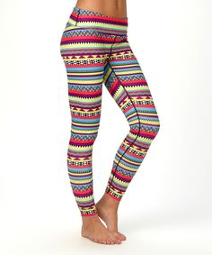 Another great find on #zulily! Burton Yellow & Coral Geometric Midweight Ultrawick™ Leggings by Burton #zulilyfinds