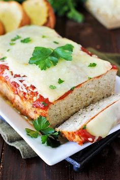 Tender and moist Chicken Parmesan Meatloaf ~ loaded with the flavors of Italian herbs and garlic, all topped with sauce and yummy melty cheese. Chicken Parmesan Meatloaf, Parmesan Meatballs, Easy Chicken Parmesan, Balsamic Chicken, Slow Cooker Chicken Stroganoff, Slow Cooker Huhn, Slow Cooker Meatloaf, Moist Chicken, Seasoned Bread Crumbs
