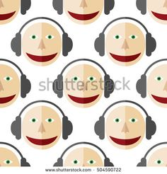 Seamless pattern of a man in headphones. DJ. White background.