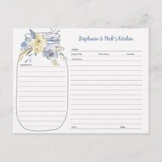 Shop Dusty Blue Floral Mason Jar Recipe Cards created by lemontreeweddings. Mason Jar Meals, Meals In A Jar, Mason Jars, Recipe Book Templates, Printable Recipe Cards, Bridal Shower Cakes, Bridal Shower Invitations, Invites, Bridal Showers