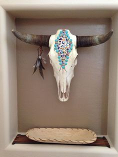 Bull Skull Wall Decor long horn yarn painted cow skull. wall art. home decor. design