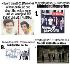 #neverforget20131dmemories Songs!