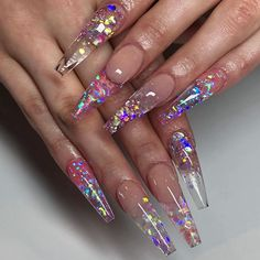 47 New Ideas For Chunky Glitter Nails Ombre Garra, Dope Nails, Bling Nails, Halloween Nail Designs, Halloween Nails, Coffin Nails, Chunky Glitter Nails, Jelly Nails, Long Acrylic Nails