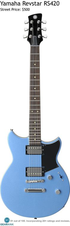 """Yamaha Revstar RS420 - Factory Blue.  Instead of merely splitting the coils of its humbuckers, Yamaha implemented built-in filters to morph the sound into single coil sounds that are hum-free. To keep the price reasonable, Yamaha went with nato for the body and the set-in neck, but they did add a maple top to the body, as well as a 24.75"""" scale rosewood neck. It comes with interesting finish options that include Black Steel, Fire Red and Factory blue."""