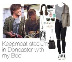 """Keepmoat stadium in Doncaster with Louis"" by myllenna-malik ❤ liked on Polyvore featuring moda, Ray-Ban, Ally Fashion, River Island, Lord & Berry, NARS Cosmetics, Essie, Gypsy Warrior, Olivia Burton y BCBGMAXAZRIA"