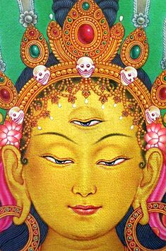 The third eye refers to the gate that leads to inner realms and spaces of higher consciousness. In the picture a detail of the Goddess of universal compassion Tara, representing virtuous and enlightened actions. She also brings about longevity, protects e Buddhist Wisdom, Buddha Buddhism, Buddhist Art, Tibetan Mandala, Tibetan Art, Tantra Art, Vajrayana Buddhism, Eyes Artwork, Chakra Art