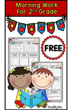 Morning work for second grade--math and literacy spiral review FREEBIE--great for homework