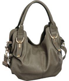 "Purse Boutique: Grey Laurel&Sunset ""Fallbrook"" Cross-Body Convertible Hobo Bag, Purses"
