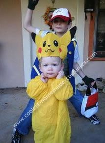 Homemade Pokemon, Pikachu and Ash Group Costume: Although the Pikachu costume was purchased, we made the Ash costume by hand. My older son is a huge Pokemon fan and so we decided to make his little brother