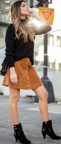 Black Booties Camel Faux Suede Button Skirt Black Oversized Sweater Fall Inspo by The Girl From Panama