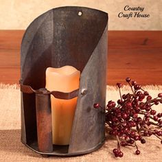 Primitive Country Farmhouse GRAIN SCOOP CANDLE SCONCE Rusty Wall Holder