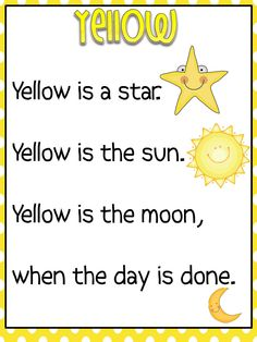 pdf – can use for teaching color sight words - Dreams Street Kindergarten 2020 Preschool Poems, Kids Poems, Preschool Classroom, Preschool Learning, Preschool Activities, Kindergarten Colors, Preschool Colors, Teaching Colors, Kindergarten Reading