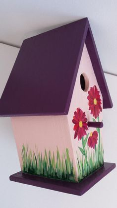 Items similar to Pretty in pink birdhouse on Etsy Decorative Bird Houses, Bird Houses Painted, Bird Houses Diy, Birdhouse Craft, Birdhouse Designs, House Painting, Painting On Wood, Homemade Bird Houses, Garden Deco