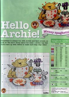 spaghetti archie - margaret sherry Cross Stitch Alphabet Patterns, Disney Cross Stitch Patterns, Cross Stitch Designs, Cross Stitch Boards, Mini Cross Stitch, Cross Stitch Animals, Margaret Sherry, Cross Stitching, Cross Stitch Embroidery