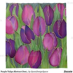 Purple Tulips Abstract Design Shower Curtain
