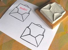 Tiny Message Envelope - Hand-Carved Stamp