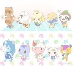 Kawaii ACNL people~ (remember I did not draw this drawing) Acnl Art, Animal Crossing Fan Art, Ac New Leaf, Happy Home Designer, Anime, My Animal, My Idol, Chibi, Nerdy