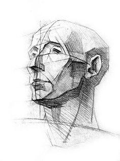 Ce tableau est fait au crayon, nous pouvons remarquer les traits de forme carré. Il représente le visage d'un homme. J'aime ce tableau puisqu'il est simple. Il n'y pas de gros détail mais, ce tableau n'est pas vide. J'aime le fait que dans certain endroits du visage il y  est des coins plus sombre que d'autre. Ce tableau me fait ressentir de neutralité. Le personnage semble calme et serein.